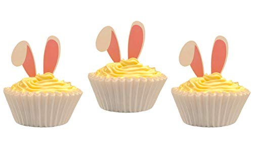 Easter Cupcake Liners and Toppers - 100 Pack Pack Standard Size White Cupcake Liners (50 count) with Bunny Ear Toppers (50 count) for Easter Baking