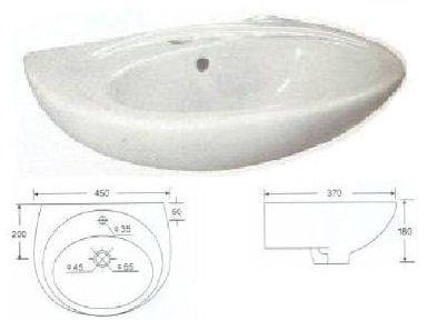 Lavabo - Lavamani in Ceramica 45 cm. con Foro Centrale