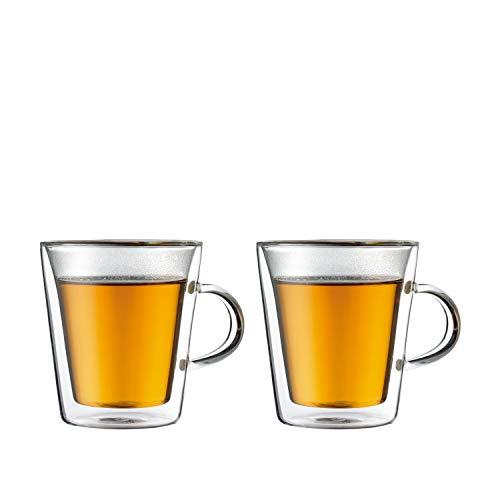 Bodum CANTEEN 2-teiliges Gläser-Set (Doppelwandig, Isoliert, Spülmaschinengeeignet, 0,2 liters) transparent