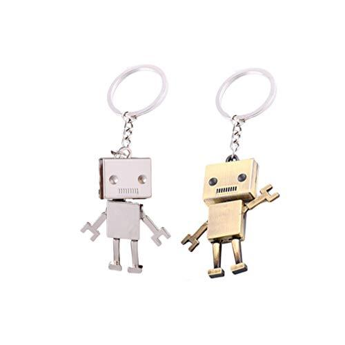 EXCEART 2 Piezas Mini Robot Llavero Amistad Metal Socio Llavero Llavero Parejas Joyería Regalos de Cumpleaños Colgante para Hermana Amigos Graduación Llave Del Coche