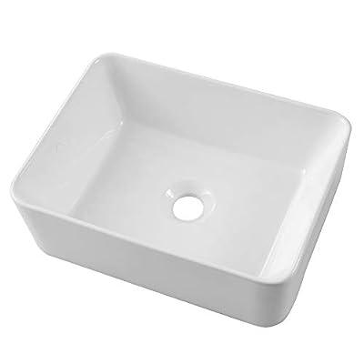 "Lordear 16""x12"" Rectangle Bathroom Sink Pure White Porcelain Ceramic Vessel Sink, Rectrangular Above Counter Sink Art Basin"