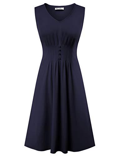 GRACE KARIN 50s Kleid Rockabilly ärmellos Partykleid Damen Vintage Kleider 50er Jahre Partykleider CL2244-4 M