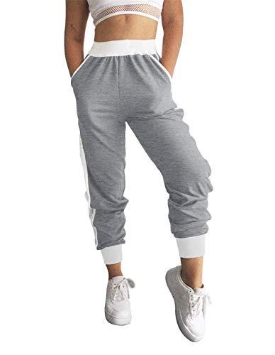 MEROKEETY Women's Mesh Panel Jogger Sweatpants Elastic Waist Yoga Lounging Pockets Pants, Grey, M