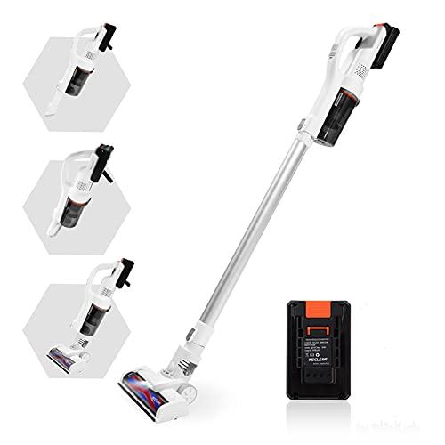 WECLEAN Akku-Staubsauger, 16000pa, Bis zu 30 Minuten Laufzeit, 200W Leistungsstarker Sauger mit LED, 4 in 1 Stabstaubsauger für Teppich, Hartboden & Haustier (1 Batterie, Weiß)