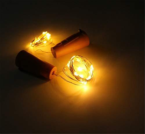 Elegance Z Het licht van de kaarsen, warme ledlampen voor Kerstmis, koper, kurk, wijnfles, Valentijnsdag, decoratieve lampen, 6 stuks