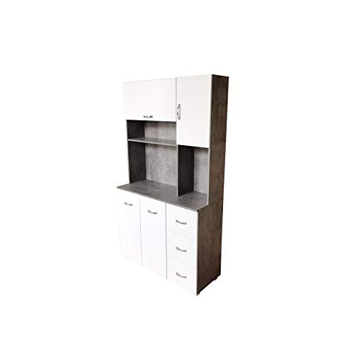 HTI-Line Küchenschrank Blanca Küchenbuffet Küchenschrank Mehrzweckschrank Mikrowellenschrank Küchenmöbel Beton Weiß
