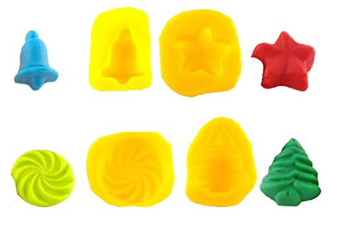 Flexible Molds - Tree, Bell, Star, Swirl (4 cavity) - Cream Cheese Mint Molds - Candy Melts - Fondant - Caramels - Soft Candy Molds