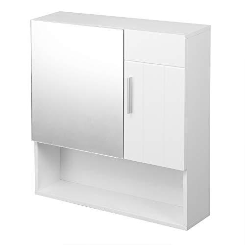 WOLTU Hängeschrank Spiegelschrank Wandschrank Wandregal Badschrank Badezimmerschrank Spiegeltürenschrank mit höhenverstellbarer Ebene aus MDF Weiß BZS49ws