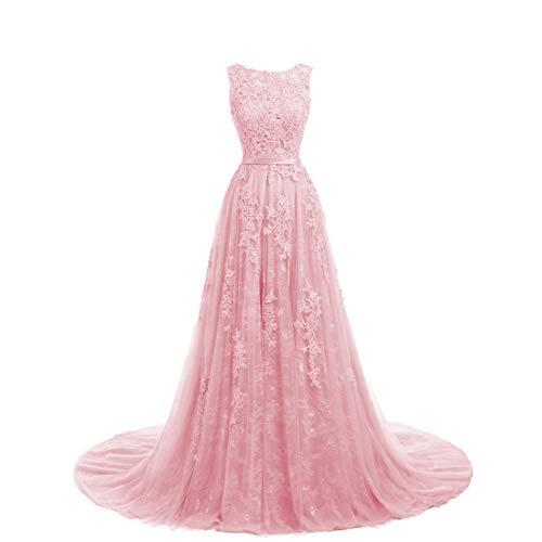 Damen Abendkleid Ballkleid Lang Spitzenkleid Brautkleid A-Linie Ärmellos Hochzeit Festkleider Rosa 44