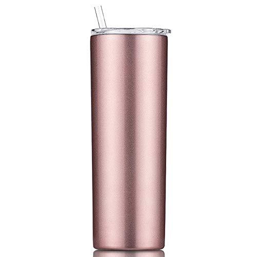 Gteller - Bicchiere sottile sottile a doppia parete in acciaio INOX 18/8, con cannuccia e coperchio, isolato da viaggio, per mantenere le bevande fredde e calde (oro rosa, 567 g)