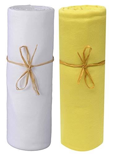 P'Tit Basile - 2er Satz Spannbettlaken Baby Größe und Farben Variés. Jersey aus Baumwolle Bio. Stretchhose Stretch mit Gummizug Ganze Rund, Baumwolle Gekämmte Qualität - Gold, 60x120 cm