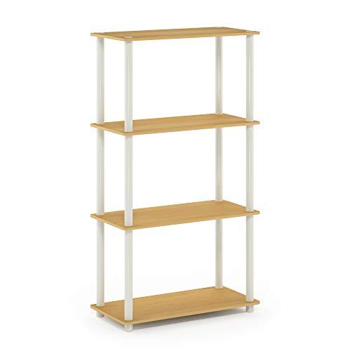 Homfa 5-Tier Corner Shelf, Free Standing Ladder Shaped Plant Flower Stand Rack Bathroom Storage Tower Industrial Style Utility Organizer Wood Look Accent Metal Frame Modern Furniture Home Office