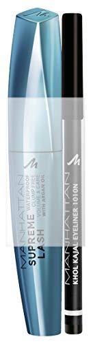 Manhattan Supreme Lash Waterproof Mascara + GRATIS Khol Kajal, limitiertes Set für den perfekten Augenlook, 11 ml