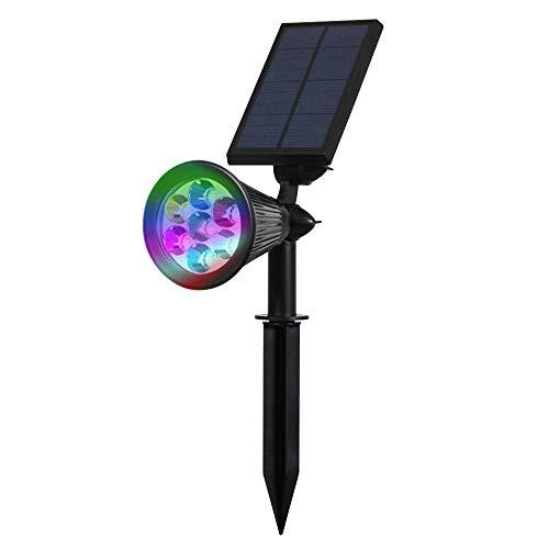 Solar Strahler, 7 LED 320 Lumen 7 Farben Solarbetriebene Scheinwerfer 2-in-1 Verstellbare Gartenleuchten Solarleuchte Landscape Beleuchtung Outdoor Spotlight - Das 4. Gen