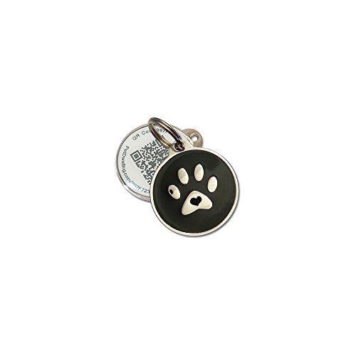 PetDwelling Two Dimensional QR Code Pet ID Tag Links to Online Profile w/Emergency Contact/Medical Info/Google Location Stamp (Black Paw Adv)