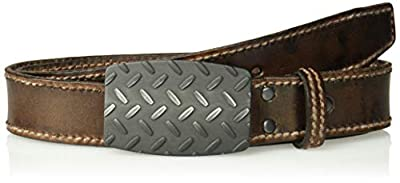 Ariat Men's Basic Stitch Edge Diamond Plate Buckle Belt, Brown, 42
