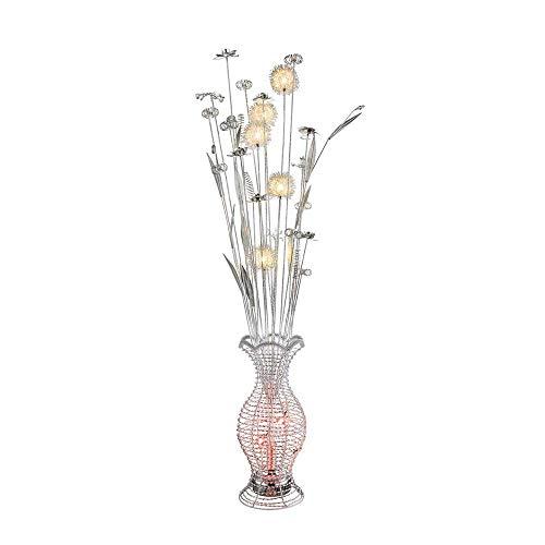 RGB LED Design Steh Leuchte Wohn Ess Zimmer Lampe ALU Blumen Vase Chrom Blüten Globo 25845RGB