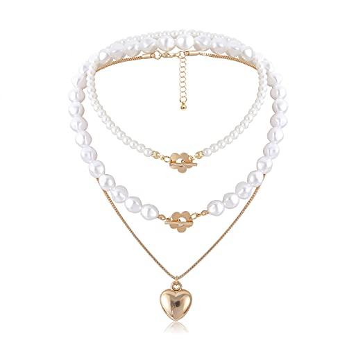 WDBUN Collar Colgante Joyas Collar de candado con Colgante de corazón de Perlas de Tres Piezas, Personalidad de Moda, Estilo Callejero, Cadena de suéter, Oro Regalos Originales para Mujer Hombre
