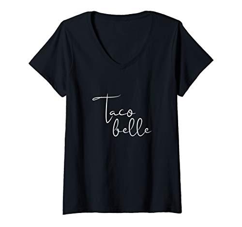Womens Taco Belle Funny Taco Lover Women's Shirt V-Neck T-Shirt