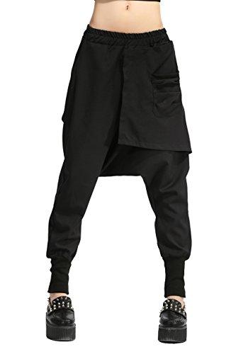 Ellahzhu Damen-Haremshose für Winter, dick, elastischer Bund, Einheitsgröße, GY696 Gr. One size , schwarz