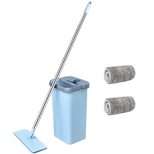 ZTT Exprima el trapeador Plano, el trapeador y el Sistema de cubeta, Limpieza de Piso húmedo/seco, 2 Almohadillas de trapeador Reutilizables, manija de Acero Inoxidable para Limpiar el Piso