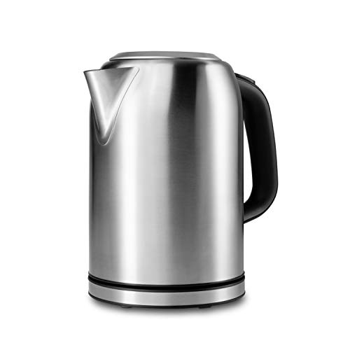 MEDION Wasserkocher (1,7 Liter, 2200 Watt, Edelstahlgehäuse, Kalk-Filter, Trockengehschutz, MD16231) silber