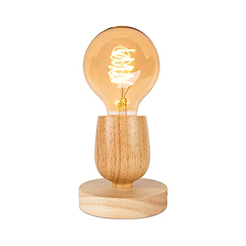 Lámpara de mesa de madera con interruptor de cable, casquillo E27, color: natural, lámpara de noche poligonal (sin bombilla), estilo 1