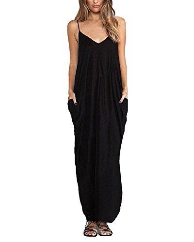 ZANZEA Donna Vestito Senza Maniche Abito Lungo Casual Elegante Maxi V Collo Moda Dress Cocktail Nero IT 48-50