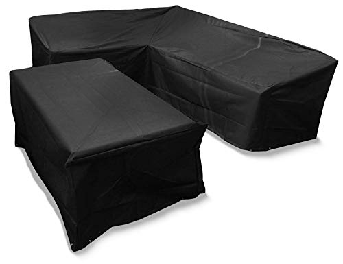 Bosmere Protector 6000 Large L Shaped Dining Cover - Right Side Long – Black – 100% Waterproof, UV Protected, Outdoor Protection – 6 Year Guarantee, M668