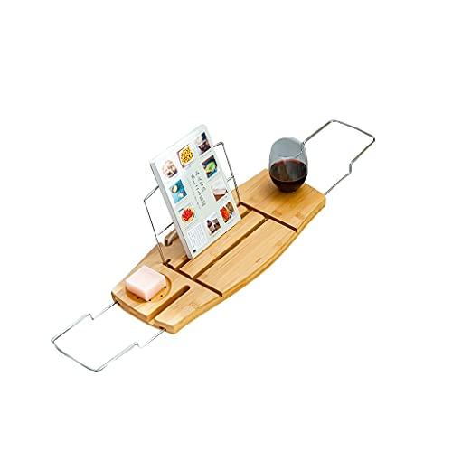 YAN QING SHOP Bandeja de bañera de bambú + bañera de bañera de Acero Inoxidable Bandeja de bañera Extensible, con Soporte de Tableta o Tableta, Ranura de Tarjeta de Vino