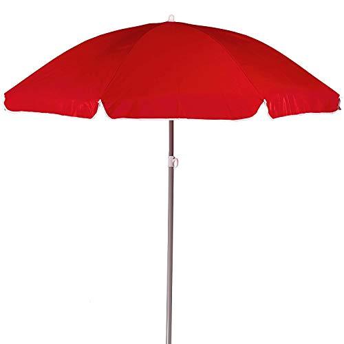 Arcoiris Sombrilla Plegable 180 CM, Parasol de Aluminio Protección Solar UPF+50, Sombrilla Jardín, Protección Solar (180cm Rojo)