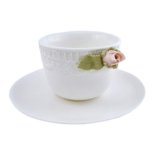 Hervit - Taza de café modelo Romance con plato de porcelana para...