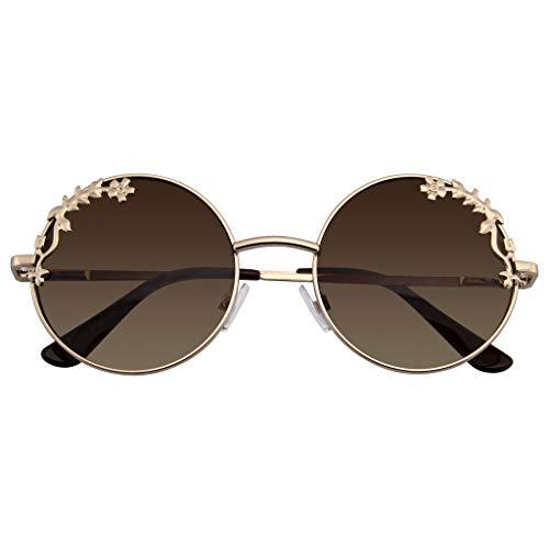 Emblem Eyewear - Womens Blume Floral Boho Runde Spiegel Sonnenbrille (Gold)
