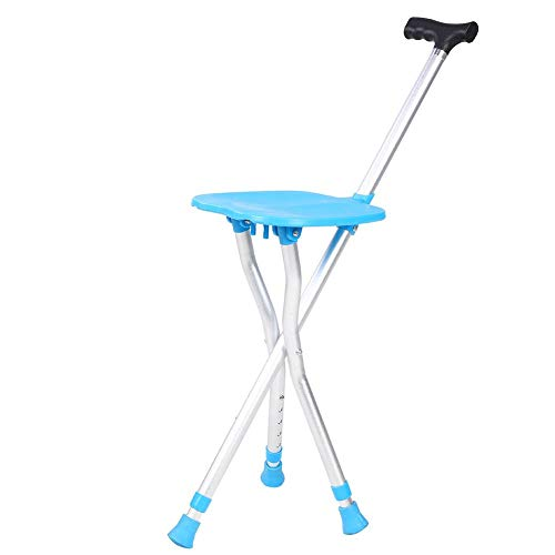 Wosume Silla de muleta de trípode de Ayuda de bastón Plegable de Metal al Aire Libre con Asiento Color Azul para jardín Patio Trasero Piscina Lateral Balcón