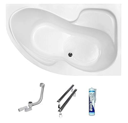 ECOLAM Badewanne Eckwanne Eckbadewanne Acryl weiß Fortuna 170x100 cm RECHTS + Ablaufgarnitur Ab- und Überlauf Automatik Füße Silikon mit Antirutsch-Oberfläche