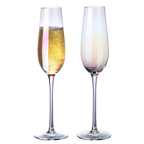 Juego de 2 copas de champán iridiscentes de cristal de 8 onzas sin plomo sopladas a mano sin plomo copas de vino espumoso, elegante caja de regalo para Navidad, celebración de boda, regalos de cumpleaños
