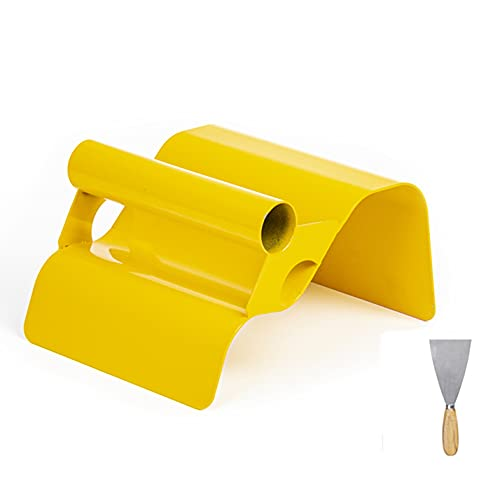 """Landscape Curb Trowel 4"""" x 6"""" x 4"""" Stainless Steel Concrete Curbing Trowel Concrete Curb Tool Mower Edger Trowel Yellow Model Making Tool with Handle & Putty Knife"""
