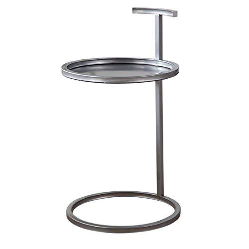 Schreibtische HAIZHEN Kleines Beistelltischchen runder Tablett Couchtisch, 40 * 70cm (5 Farben) Klapptisch (Farbe : Silber)