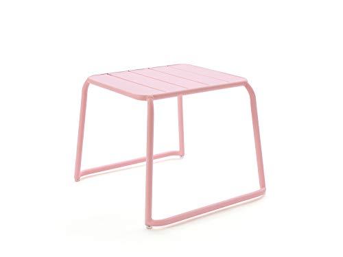 CAIRO Designer Beistelltisch Malaga Balkontisch rosa - Kleiner Gartentisch aus Aluminium, Outdoor Lounge Tisch, Terrassentisch wetterfest HxBxT 49x65,2x60,5 cm