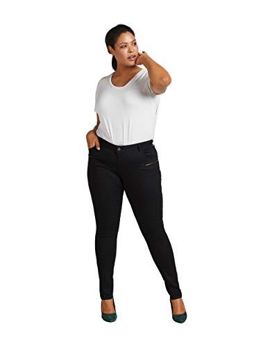 Zizzi Damen Sanna Jeans Extra Slim Fit Jeanshose, Schwarz (Black 0199), 52 (Herstellergröße: 52/82 cm)