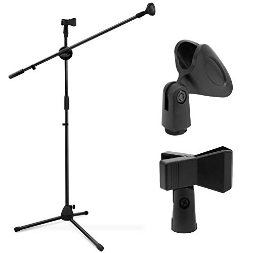 Ohuhu trípode Boom soporte de micrófono con clip de micrófono doble, trípode plegable con soporte de boom, ultraligero para fácil transporte, color negro