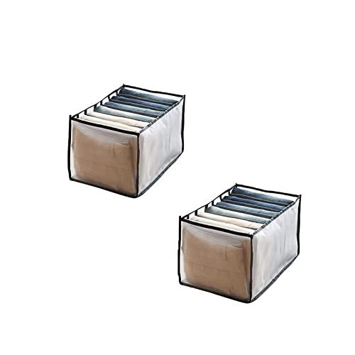 Organizador de ropa lavable para armario, armario para ropa, cajón, caja de separación de malla, separador de cajones para pantalones apilables, organizador para el hogar lavado (Black+black)