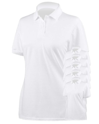 Gildan Ladies DryBlend Pique Polo Sport Shirt, White, Medium. (Pack of 6)