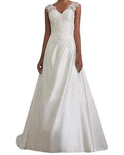 MISSMAO_FASHION2019 Brautkleid Lang Hochzeitskleider Spitze Damen Brautmode V-Ausschnitt Bodenlang Abendkleid Rückenfrei Weiß Vintage Ärmellos Brautkleid Weiß L