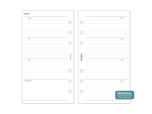 pen & pages® undatierter Kalender Wochenübersicht liniert - Personal - 6 Löcher - Personal Organizer, Kalendereinlagen, 1 Woche auf 2 Seiten, undatiert, 9,5 x 17,1 cm