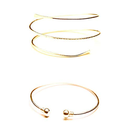 HUNO Minimalist Metal Punk Spiral Coil Upper Arm Cuff Open Arm Bracelet Armlet Adjustable Hammered Wrap Armband Bangle for Women-2pcs Gold