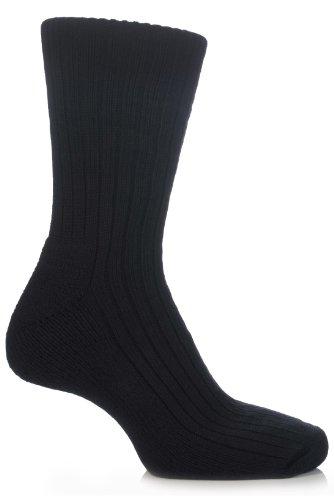 Glenmuir Herren und Damen 1 Paar Baumwolle gepolsterte Golf Socken In 10 Farben - 7-11 Mens - Schwarz