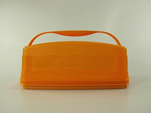 TUPPERWARE Junge Welle Kastenkuchenbehälter orange Kuchen + Tragegriff Griff