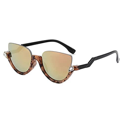 Crystal Half Frame Semi sin montura Cat Eye Diamond Gradient Gafas de sol para mujer Uv400 Espejo Sombras Rosa