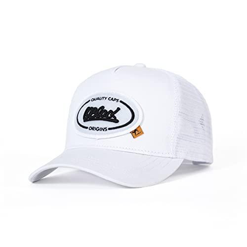 Oblack Gorras de Hombre Origins White Gorras Mujer Beisbol Blanca Ajustable con Visera y Rejilla Transpirable - Gorra Trucker